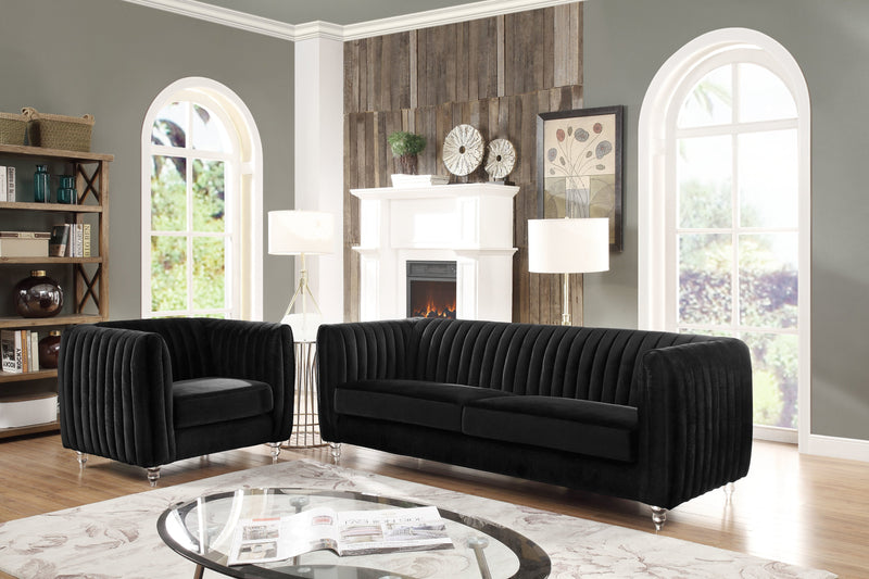 Iconic Home Kent Channel Quilted Velvet Sofa Black