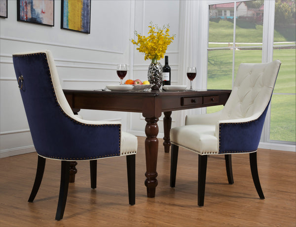 Iconic Home Cadence Linus Gideon Gilbert Renaud Button Tufted PU Leather Velvet Nailhead Trim Espresso Wood Legs Dining Side Chair (Set of 2) Navy/White Main Image