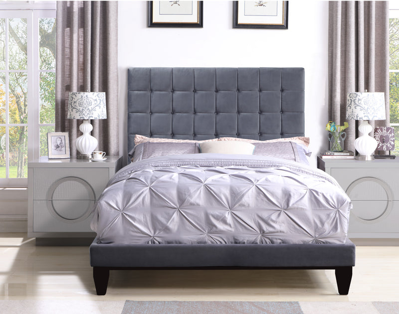Iconic Home Beethoven Elgar Chopin Handel Verdi Bed Frame with Headboard Tufted Velvet Upholstered Tapered Birch Legs Grey Main Image