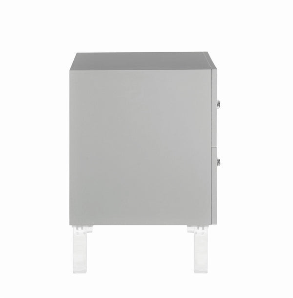 Iconic Home Naples Side Table Nightstand 2 Self Closing Drawers Lacquer Finish Acrylic Legs Grey