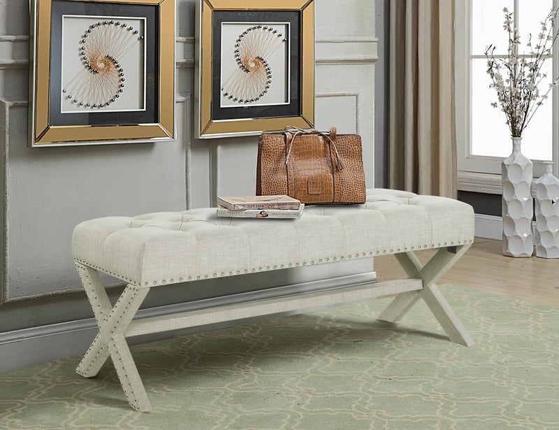 Iconic Home Dalit Mischa Luna Dianna Athena X Frame Nailhead Trim Linen Tufted Ottoman Bench Beige Main Image