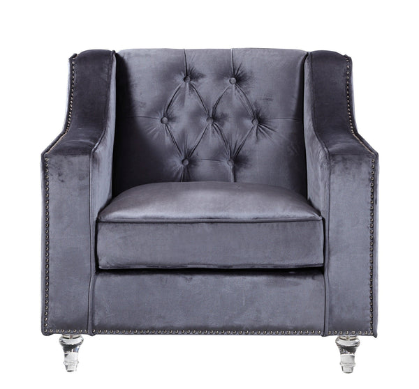 Iconic Home Dylan Velvet Button Tufted Nailhead Trim Acrylic Legs Accent Club Chair Grey