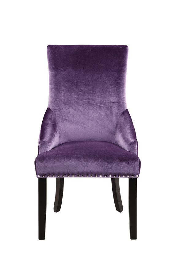 Iconic Home Machla Dining Chair Button Tufted Velvet Upholstered Nailhead Trim Wood Legs Lavender