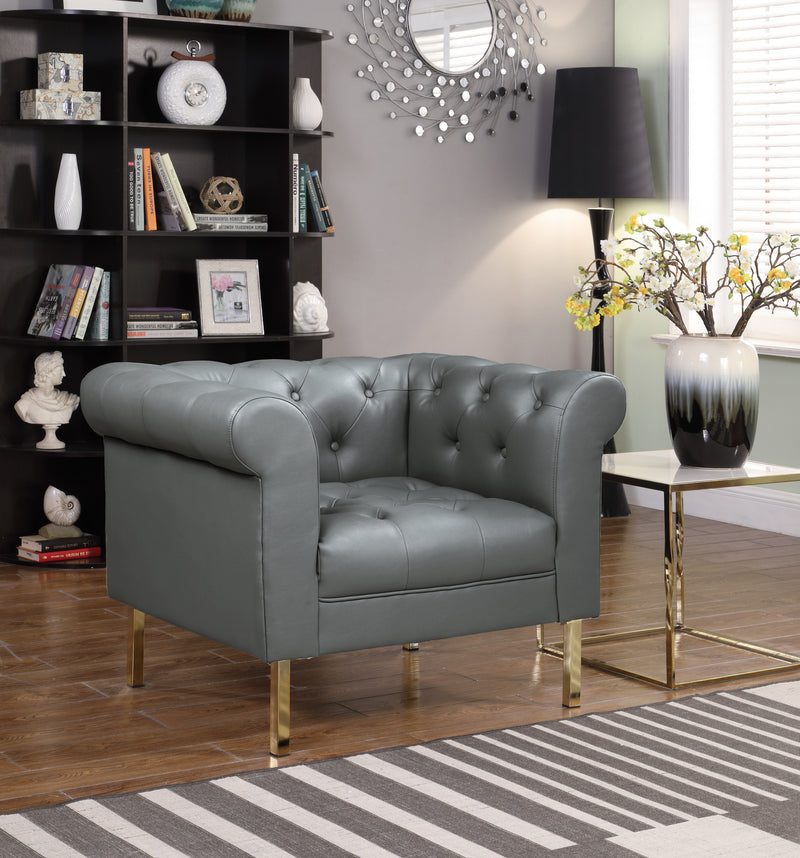 Iconic Home Giovanni Dominic Mateo Julian Noah Club Chair PU Leather Upholstered Button Tufted Gold Tone Metal Legs Grey Main Image
