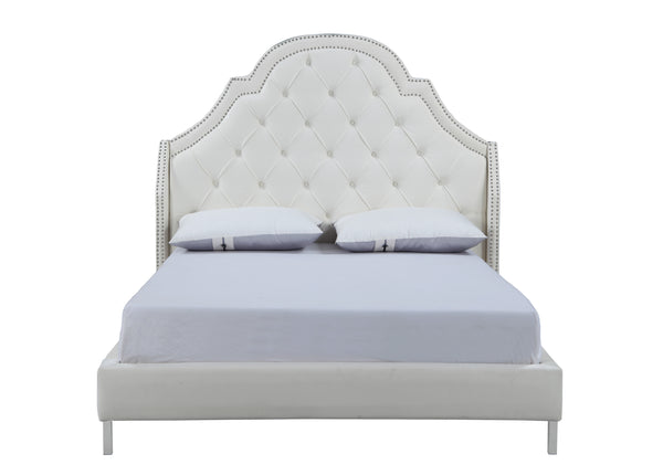 Iconic Home Napoleon Bed Frame with Wingback Headboard Button Tufted Velvet Upholstered Cream