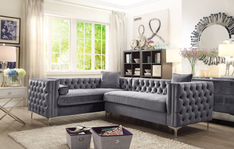 Iconic Home Mozart Weston Astrid Susan Howard Left Facing Sectional Sofa Velvet Button Tufted Nailhead Trim Metal Y-Leg Grey Main Image