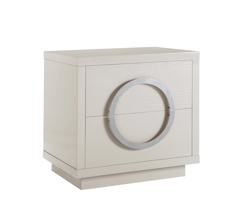 Iconic Home Sorrento Side Table Nightstand Crocodile Lacquer Finish 2 Self Closing Drawers Beige