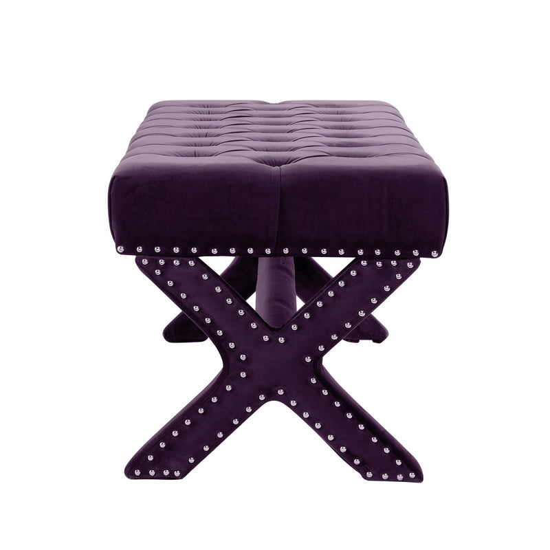 Iconic Home Neil X Frame Nailhead Trim Velvet Tufted Ottoman Bench Plum