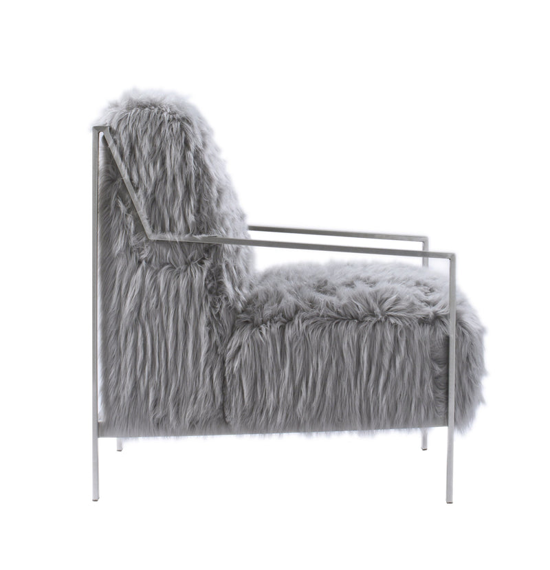 Iconic Home Bayla Accent Club Chair Faux Fur Upholstered Nickel Finished Stainless Steel Frame Grey