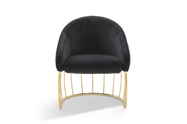 Iconic Home Teatro Shell Accent Chair Velvet Upholstered Half Moon Gold Tone Solid Metal Base Black