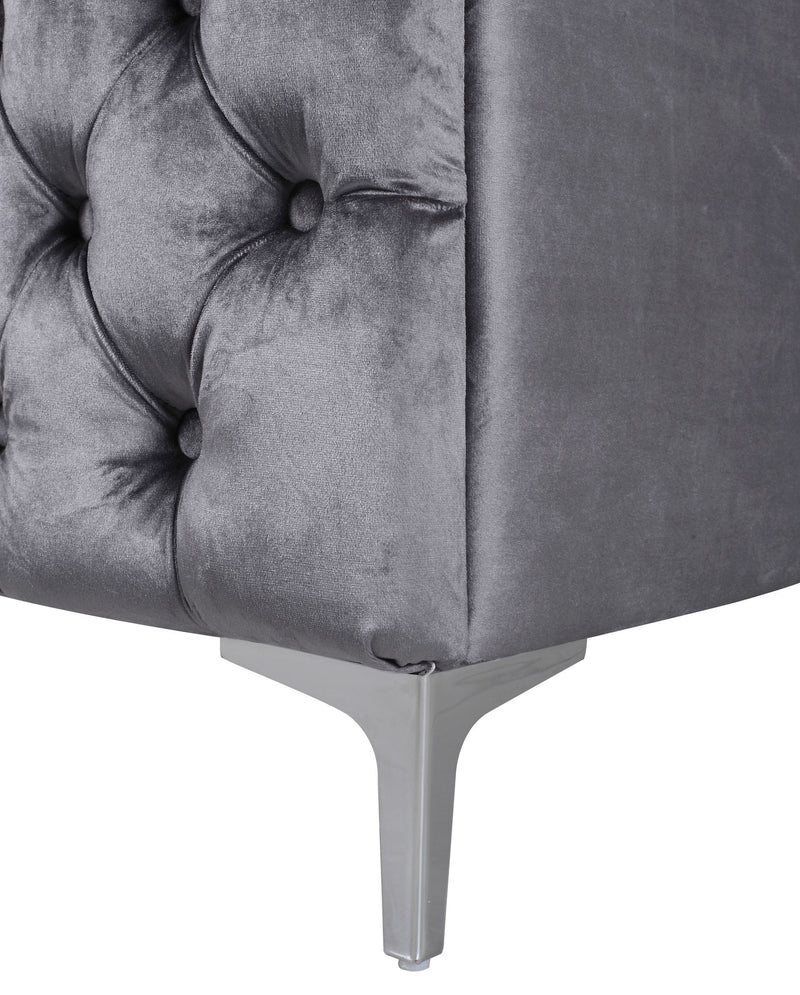 Iconic Home Mozart Left Facing Sectional Sofa Velvet Button Tufted Nailhead Trim Metal Y-Leg Grey