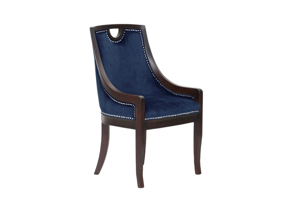 Iconic Home Owen Dining Side Chair Velvet Upholstered Nailhead Trim Wood Frame Navy (Set of 1)