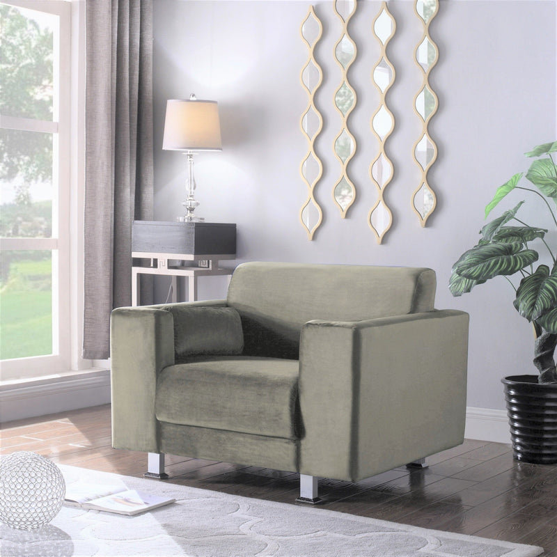 Iconic Home Amarillo Larry Adda Nancy Barbara Sleek Velvet Plush Accent Club Chair Taupe Main Image