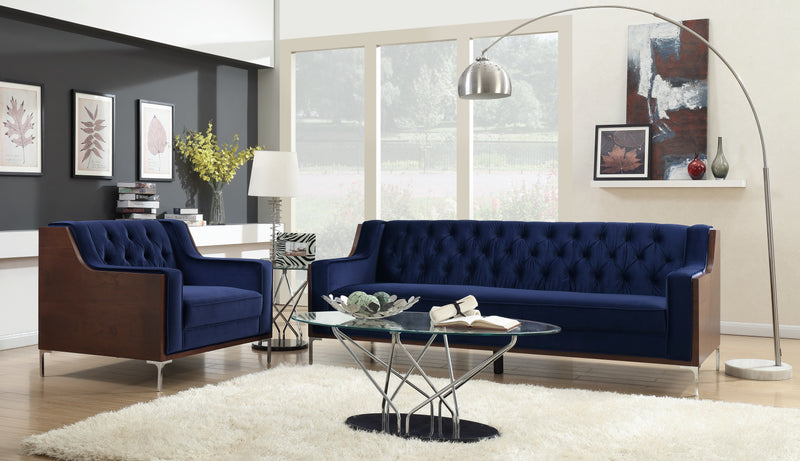 Iconic Home Clark Sofa Button Tufted Velvet Walnut Finish Swoop Arm Wood Frame Metal Y Legs Navy