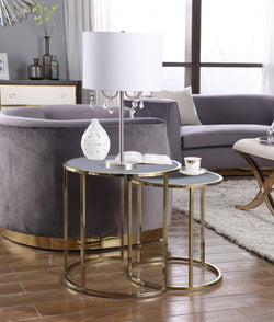 Iconic Home Tuscany Hunter Blayne Olivia Avery Nesting Table 2 Piece PU Leather Top Gibbous Moon Gold Solid Metal Frame Grey Main Image