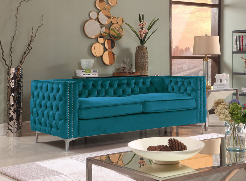 Iconic Home Da Vinci Michelangelo Picasso Monet Bosch Button Tufted Velvet Upholstered Nail Head Trim Sofa Teal Main Image