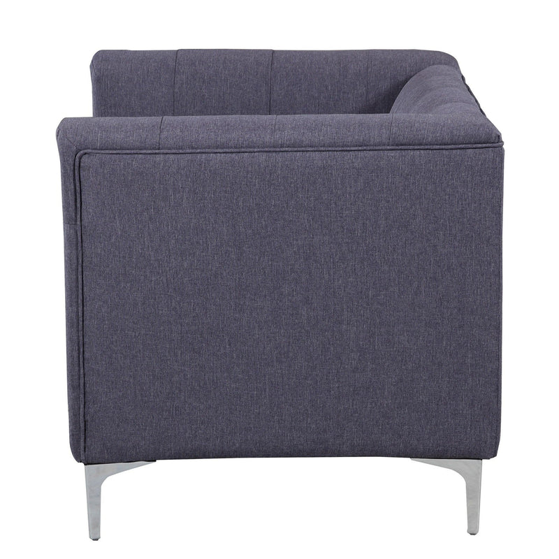 Iconic Home Capone Linen Biscuit Tufted Silvertone Metal Y-Leg Accent Club Chair Grey