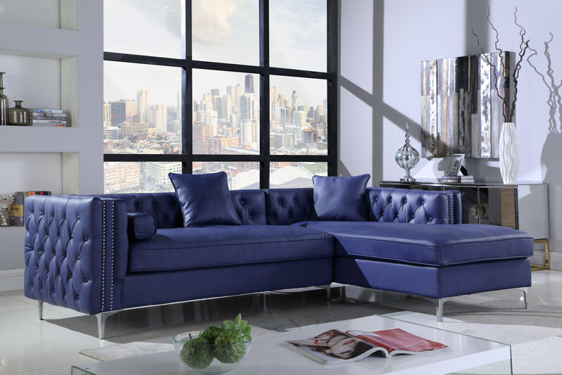 Iconic Home Da Vinci Michelangelo Picasso Monet Bosch Button Tufted PU Leather Right Facing Chaise Sectional Sofa Navy Main Image