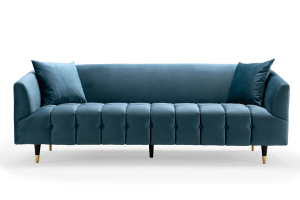 Iconic Home Julia Sofa Velvet Upholstered Button Tufted Shelter Arm Design Gold Tip Wood Legs Teal