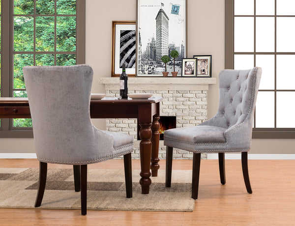 Iconic Home Diana Victoria Charlotte Elizabeth Catherine Dining Chair Button Tufted Velvet Upholstery Espresso Wood Legs Grey (Set of 2) Main Image