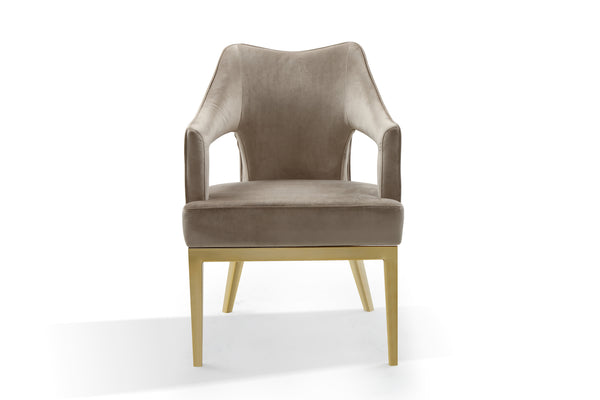 Iconic Home Gourdon Accent Chair Plush Velvet Upholstered Swoop Arm Gold Tone Solid Metal Legs Taupe