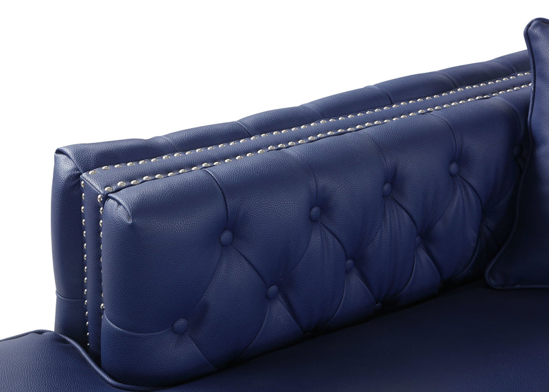Iconic Home Da Vinci Button Tufted PU Leather Left Facing Chaise Sectional Sofa Navy