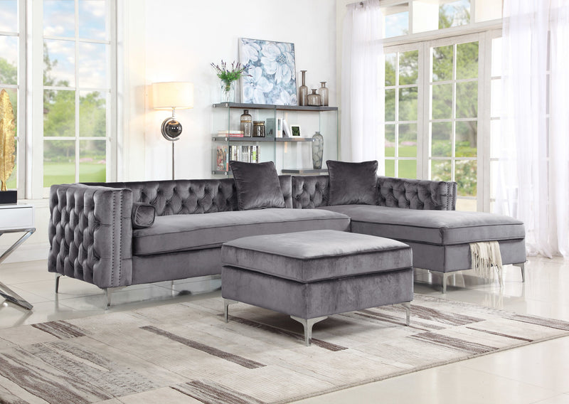 Iconic Home Guinevere Emilio Troy Eliott Melvin Storage Ottoman Velvet Upholstered Bench Grey Main Image