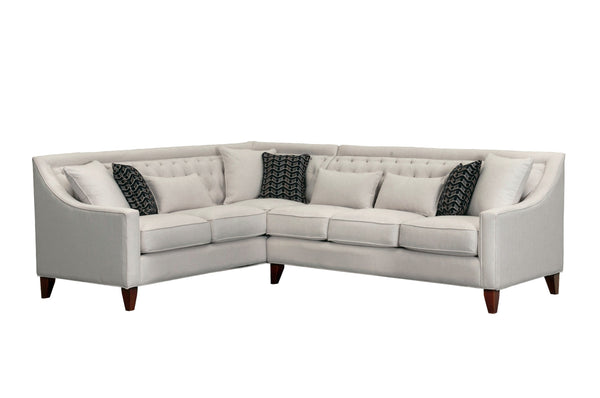 Iconic Home Aberdeen Linen Tufted Left Facing Sectional Sofa Cream
