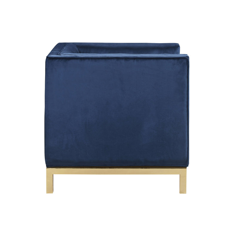 Iconic Home Dafna Club Chair Tufted Velvet Brass Finished Stainless Steel Brushed Metal Frame Navy