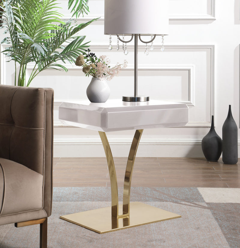 Iconic Home Rochelle Tanisha Jannah Courtney Shenae, Side Table Nightstand Gold Plated Solid Metal Stem Base Self Close Drawer Beige Main Image