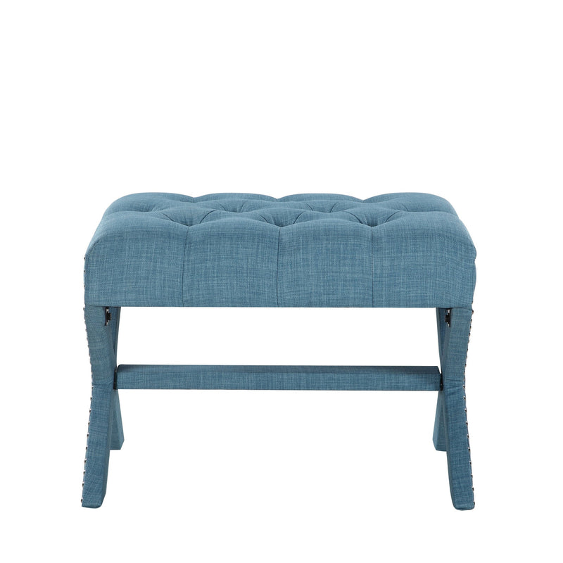 Iconic Home Paige Ottoman X Frame Nailhead Trim Linen Tufted Bench Blue