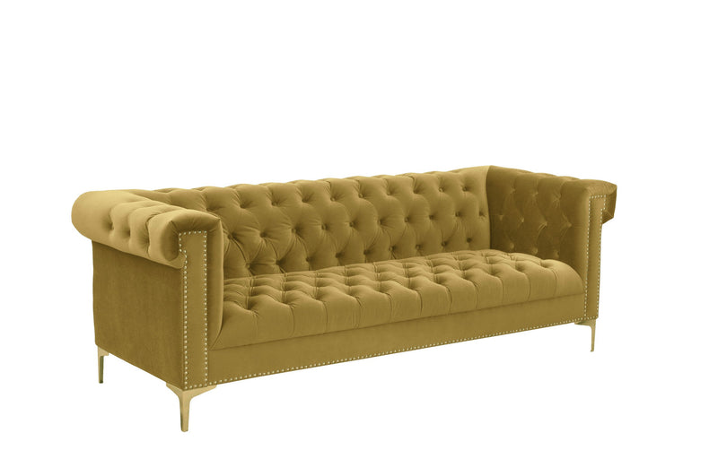 Iconic Home Bea Velvet Button Tufted Nailhead Trim Goldtone Metal Y-Legs Sofa Cognac