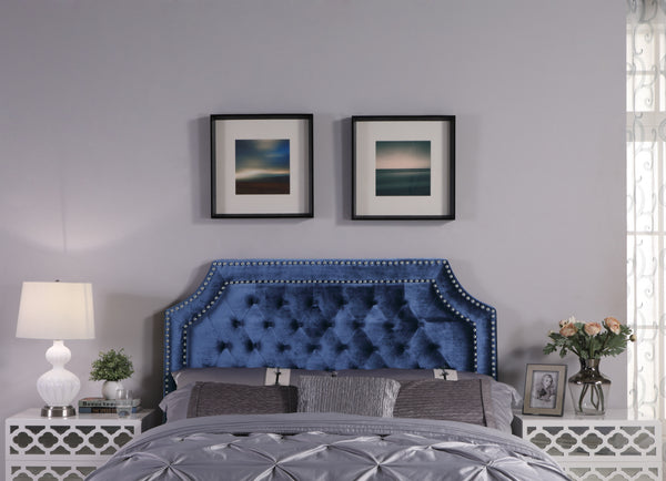 Iconic Home Chava Bacchus Horus Leda Argus, Headboard Button Tufted Velvet Upholstered Double Row Nailhead Trim Navy Main Image