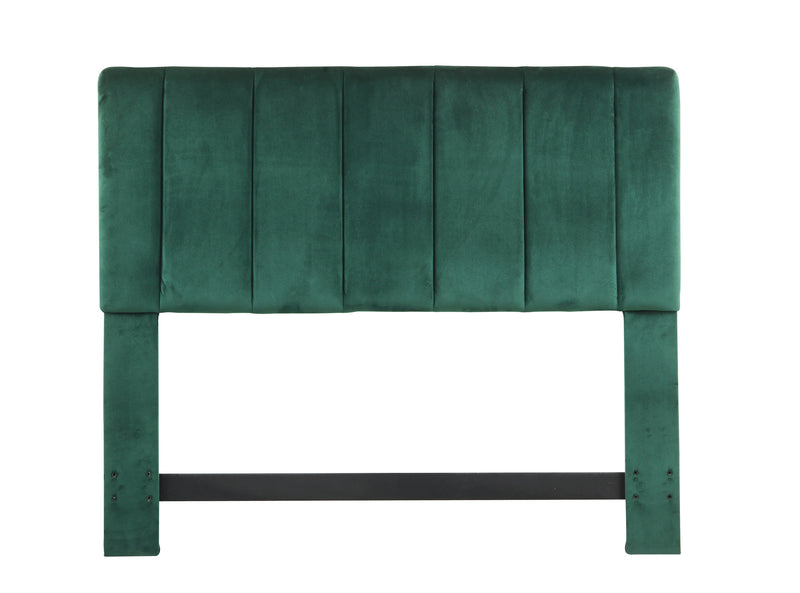 Iconic Home Uriella Headboard Velvet Upholstered Vertical Striped Green