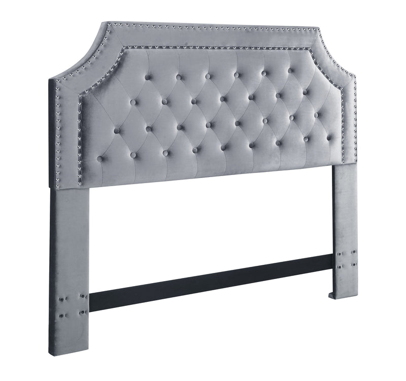 Iconic Home Chava Headboard Button Tufted Velvet Upholstered Double Row Nailhead Trim Grey