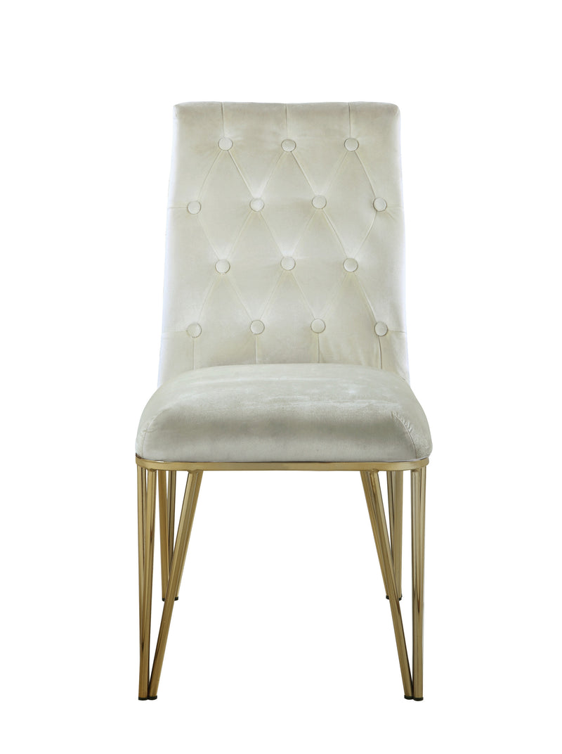 Iconic Home Callahan Dining Chair Velvet Upholstered Solid Gold Tone Spindle Legs Beige (Set of 2)