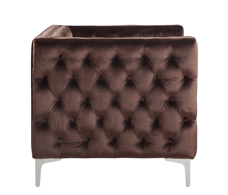Iconic Home Da Vinci Button Tufted Velvet Upholstered Nail Head Trim Accent Club Chair Brown