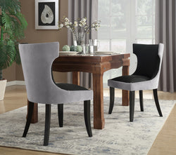 Iconic Home Conrad Narciso Kona Zeke Dino Velvet PU Leather Espresso Wood Frame Dining Side Chair (Set of 2) Grey/Black Main Image