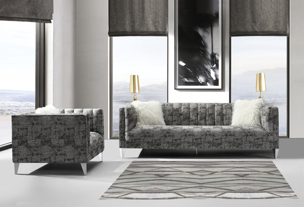 Iconic Home Montmarte Senlis Chartres Versailles Provins Sofa Textured Fabric Channel-Quilted Tapered Silvertone Metal Legs Black Main Image