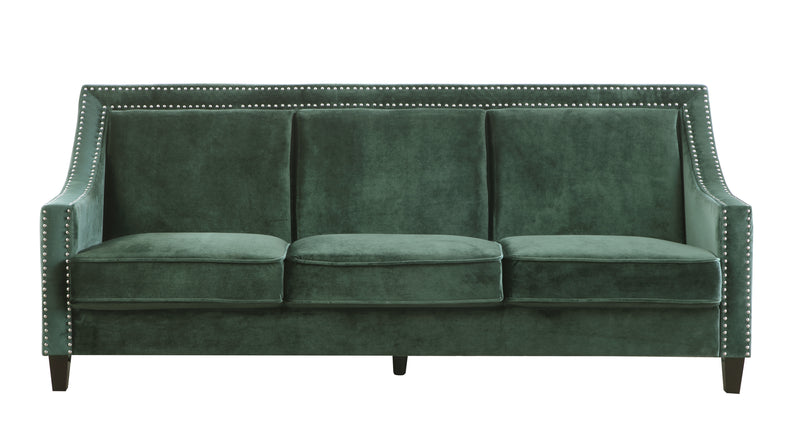 Iconic Home Camren Camero Kam Kameron Keros Sofa Velvet Upholstered Swood Arm Nailhead Trim Tapered Espresso Wood Legs Green Front Image