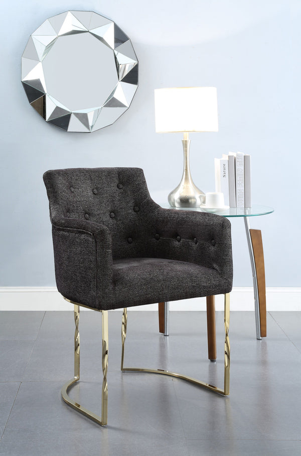 Iconic Home Amalfi Cilento Atrani Minori Positano Accent Chair Button Tufted Linen Upholstered Gold Tone Solid Metal Frame Black Main Image