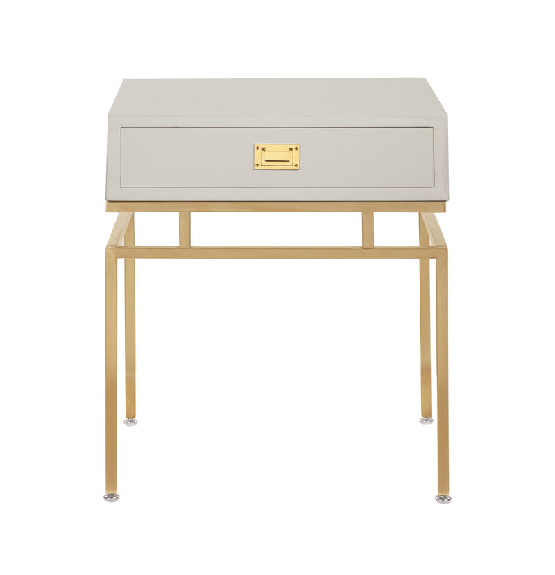 Iconic Home Genoa Side Table Nightstand Brass Base Solid Frame Self Close Drawer Beige