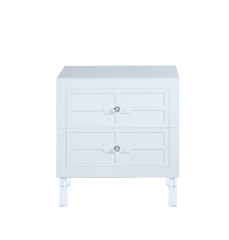 Iconic Home Naples Side Table Nightstand 2 Self Closing Drawers Lacquer Finish Acrylic Legs White