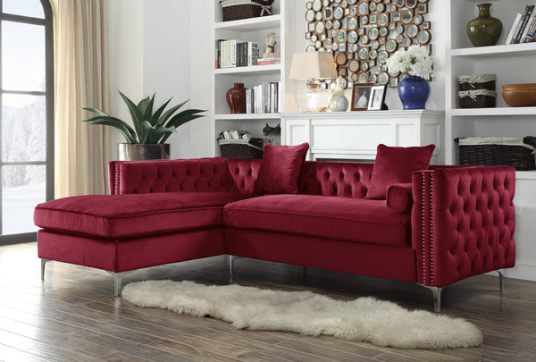 Iconic Home Da Vinci Michelangelo Picasso Monet Bosch Button Tufted Velvet Left Facing Chaise Sectional Sofa Red Main Image
