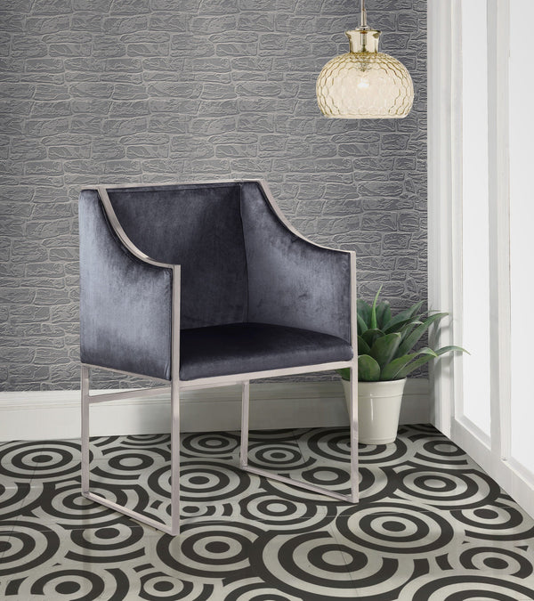 Iconic Home Rowan Declan Aidan Homer Franco Accent Club Chair Velvet Upholstered Brass Finished Stainless Steel Frame Grey Main Image