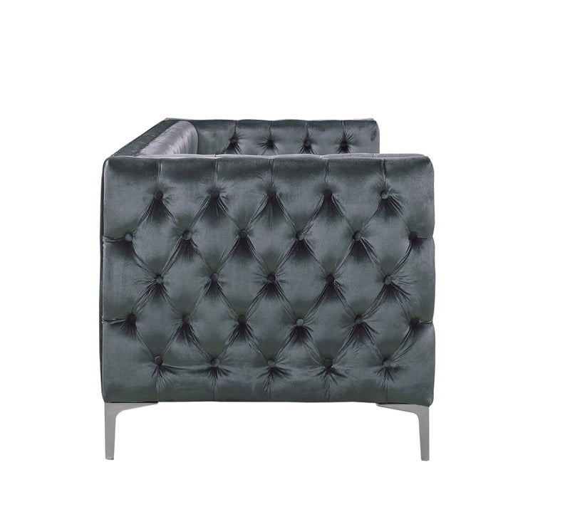 Iconic Home Da Vinci Button Tufted Velvet Upholstered Nail Head Trim Sofa Grey