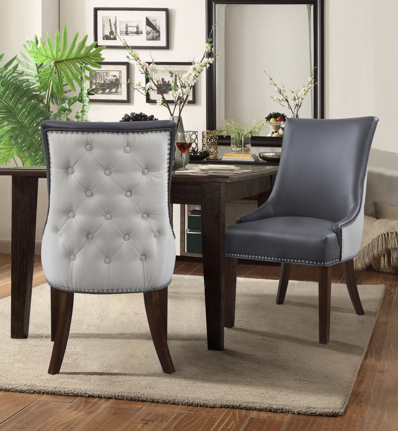 Iconic Home Brando Tracy Taylor Cooper Grant Dining Chair PU Leather Linen Upholstery Nailhead Trim Wood Legs Grey (Set of 2) Main Image