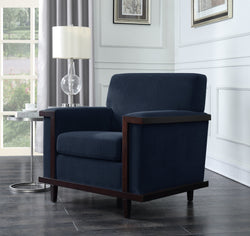 Iconic Home Norwell Barron Adrian Airoe Edmund Accent Club Chair Retro Modern Wood Trim Herringbone Chenille Wood Legs Navy Main Image