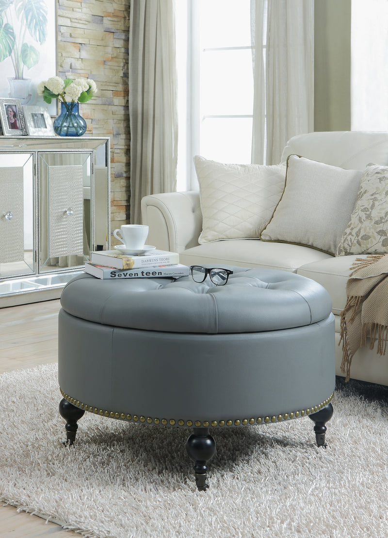 Iconic Home Mona Amelia Harriet Keller Parks Round Storage Ottoman Button Tufted PU Leather Upholstery Nailhead Trim Espresso Finished Wood Legs Grey Main Image