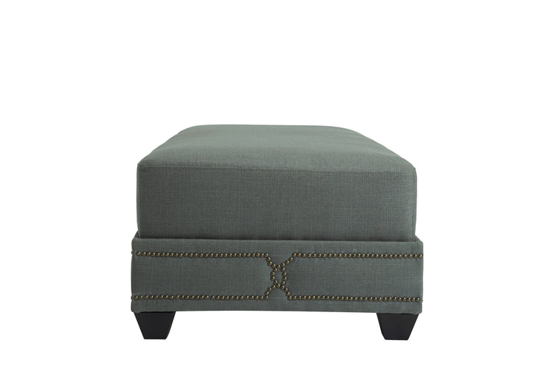 Iconic Home Gianni Ottoman Bench Linen Upholstered Nailhead Trim Ebony Legs Grey